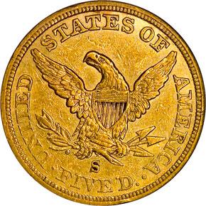 1856 S $5 MS reverse