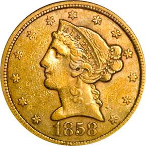 1858 $5 MS obverse
