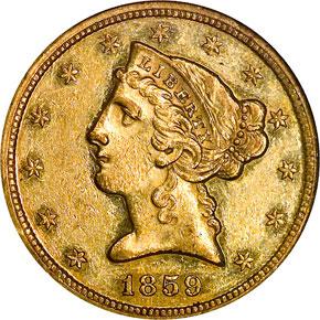 1859 $5 MS obverse