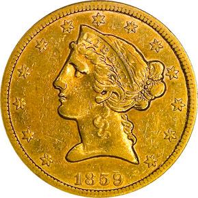 1859 S $5 MS obverse