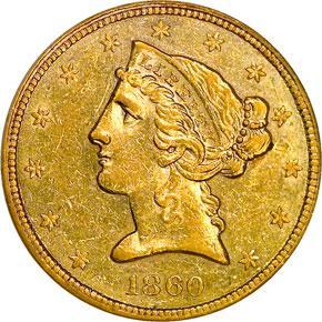 1860 $5 MS obverse