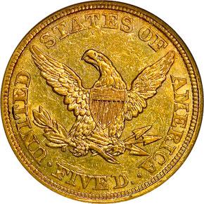 1860 $5 MS reverse