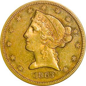 1863 $5 MS obverse