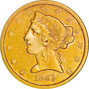 1863 S $5 MS obverse