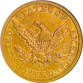 1863 S $5 MS reverse