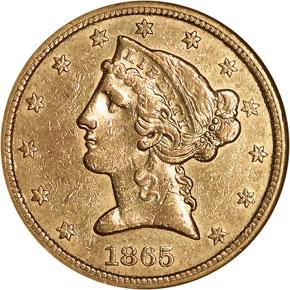 1865 S $5 MS obverse