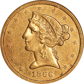 1866 S NO MOTTO $5 MS obverse