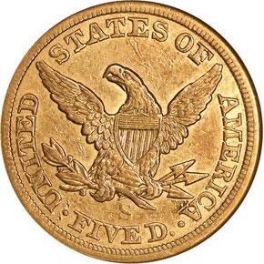 1866 S NO MOTTO $5 MS reverse