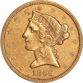 1866 S MOTTO $5 MS obverse
