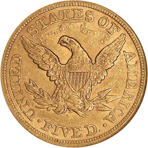 1866 S MOTTO $5 MS reverse