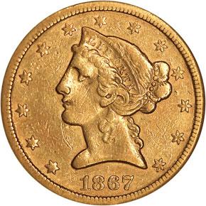 1867 S $5 MS obverse