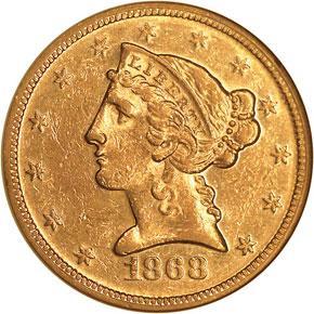 1868 $5 MS obverse