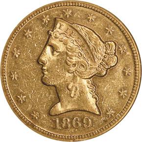 1869 $5 MS obverse