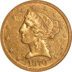 1870 $5 MS obverse