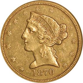1870 CC $5 MS obverse