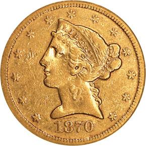 1870 S $5 MS obverse