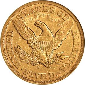 1870 S $5 MS reverse