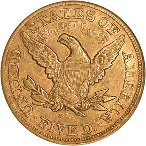 1872 CC $5 MS reverse