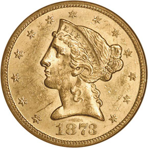1873 CLOSED 3 $5 MS obverse