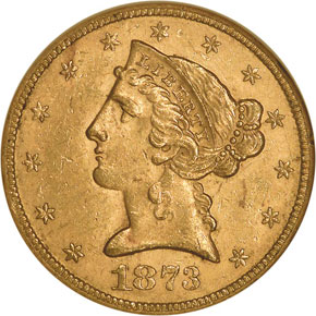 1873 OPEN 3 $5 MS obverse