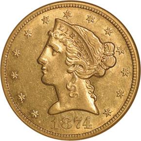1874 CC $5 MS obverse