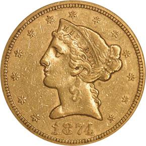 1874 S $5 MS obverse