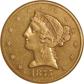 1875 CC $5 MS obverse