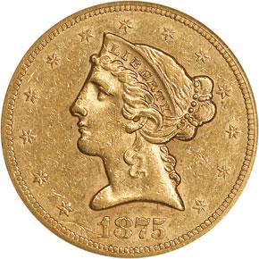 1875 S $5 MS obverse