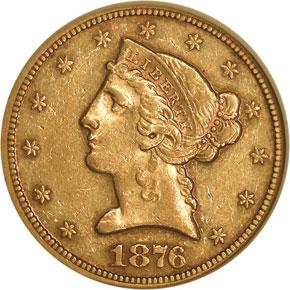 1876 $5 MS obverse