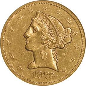 1876 S $5 MS obverse