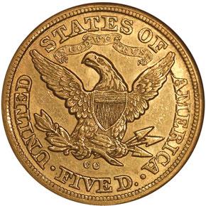 1880 CC $5 MS reverse