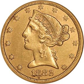 1882 CC $5 MS obverse