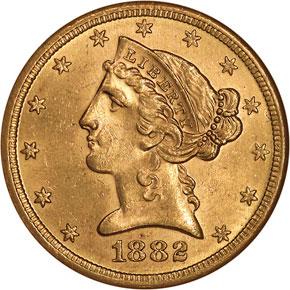 1882 S $5 MS obverse