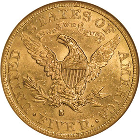 1882 S $5 MS reverse
