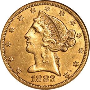 1883 CC $5 MS obverse