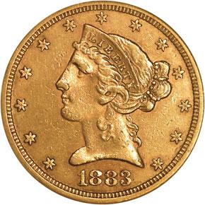 1883 S $5 MS obverse