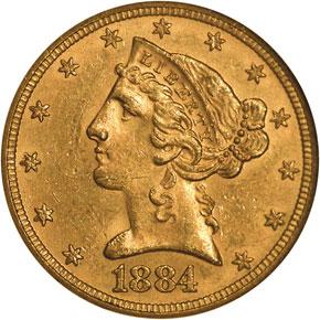 1884 $5 MS obverse
