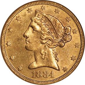 1884 S $5 MS obverse