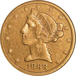 1888 S $5 MS obverse