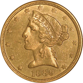 1889 $5 MS obverse