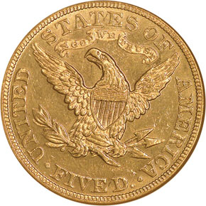 1889 $5 MS reverse