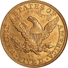 1890 CC $5 MS reverse