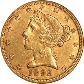 1892 S $5 MS obverse