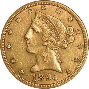 1894 O $5 MS obverse