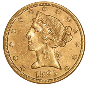 1895 S $5 MS obverse