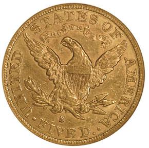 1895 S $5 MS reverse