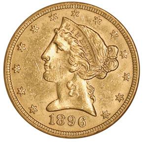 1896 $5 MS obverse