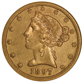 1897 S $5 MS obverse