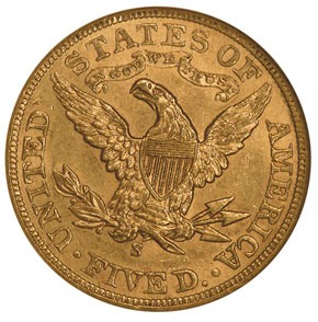 1905 S $5 MS reverse