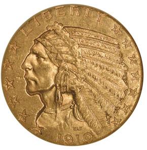 1910 S $5 MS obverse